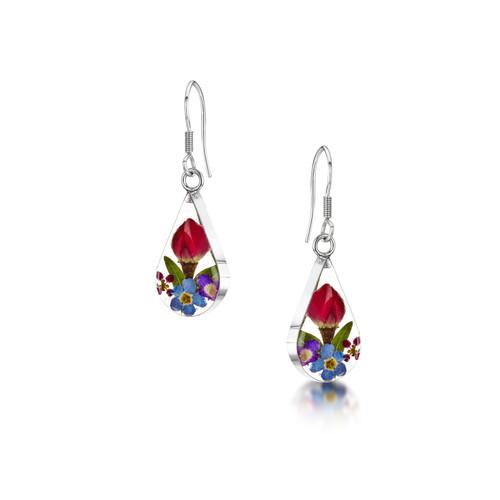 925 Silver drop Earring - Mixed Real Flower - Teardrop