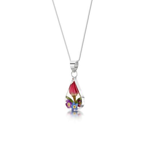 925 Silver Pendant - Mixed Real Flower - teardrop