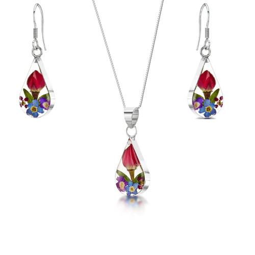 925 Silver Pendant and Earrings Set - Mixed Real Flower - teardrop