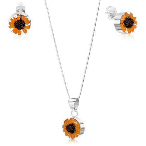 925 Silver Pendant & Earrings Set - Sunflower - Round