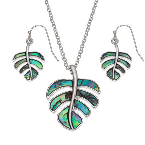 Tide Jewellery inlaid Paua shell cheese plant leaf pendant and earring set