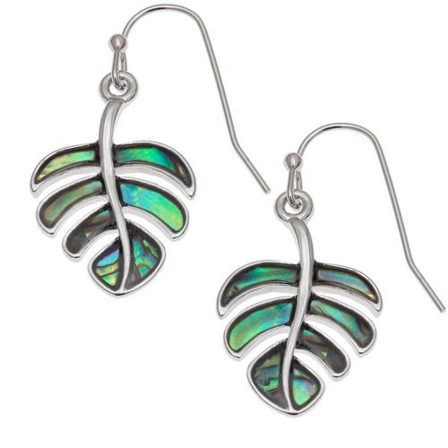 Tide Jewellery inlaid Paua shell cheese plant leaf earrings