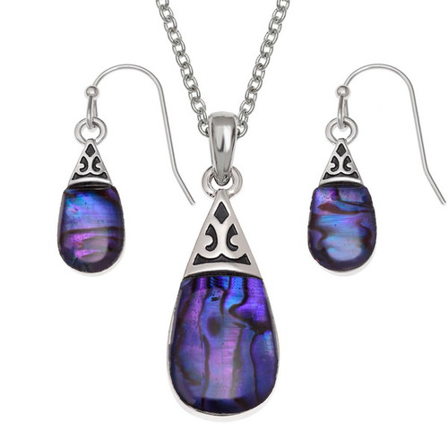 Tide Jewellery inlaid purple Paua shell Pear drop pendant and earring set