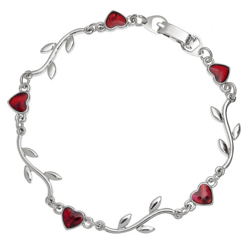 Tide Jewellery inlaid red Paua shell Heart & Branch bracelet