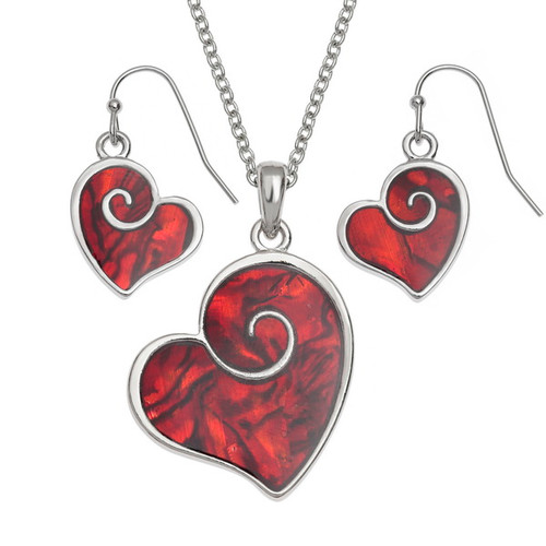 Tide Jewellery inlaid red Paua shell heart swirl pendant and earring set