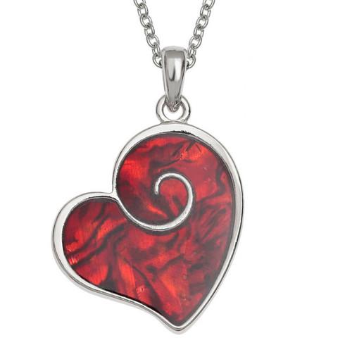 Tide Jewellery inlaid red Paua shell heart swirl pendant