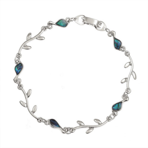 Tide Jewellery inlaid Paua shell Bird & Branch bracelet
