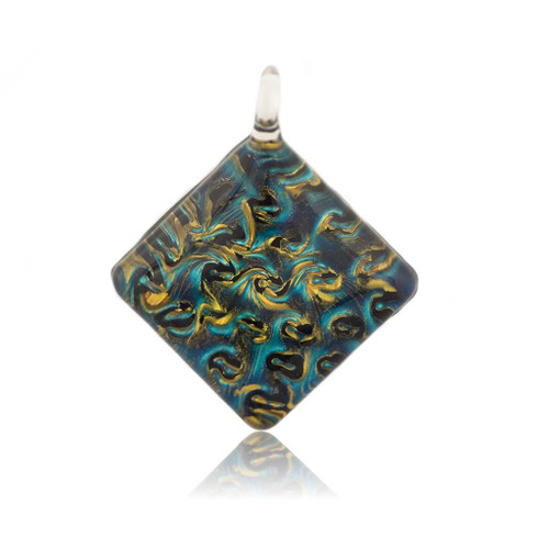 Hand Painted Blue Glass Diamond Pendant Necklace