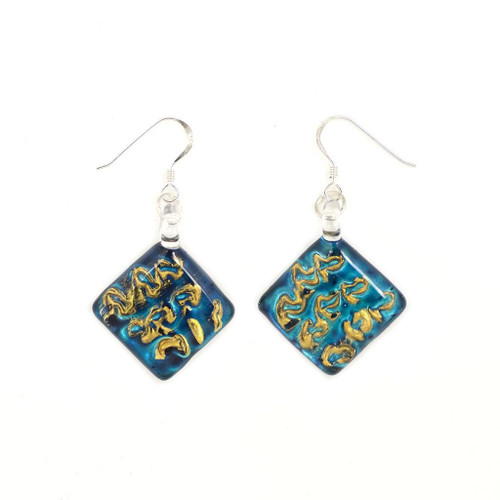 Hand Painted Blue Glass Diamond Earrings