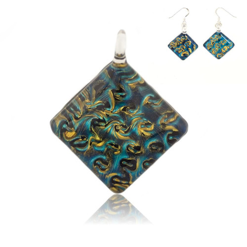 Hand Painted Blue Glass Diamond Pendant Necklace & Earring Set