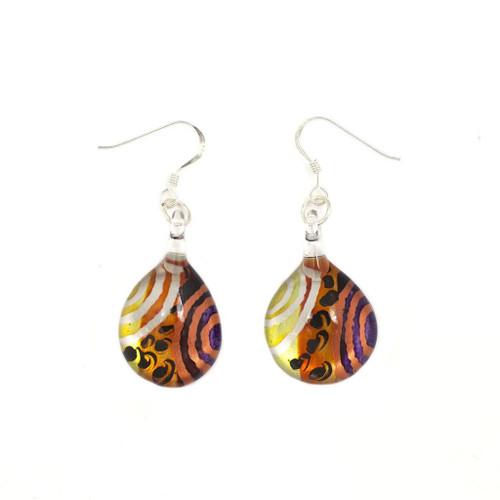 Hand Painted Glass Teardrop Colour Earring