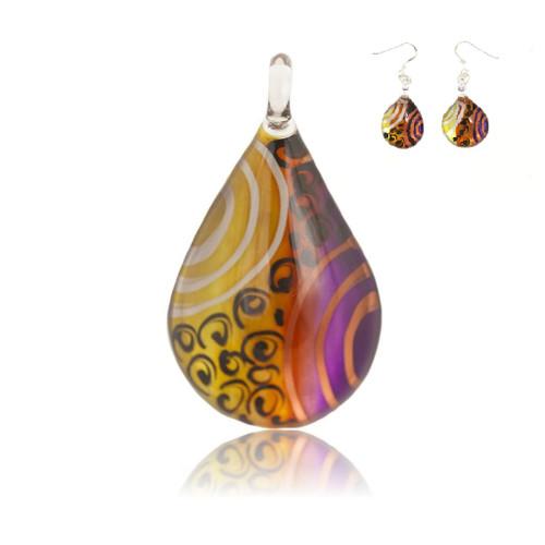 Hand Painted Glass Teardrop Colour Pendant Necklace & Earring Set