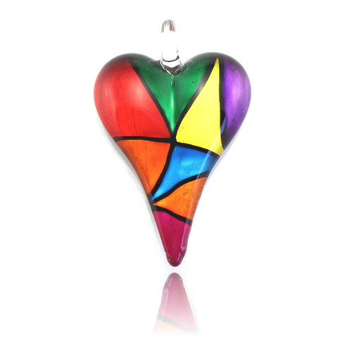 Hand Painted Glass Heart Pendant Necklace