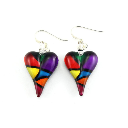 Hand Painted Glass Heart Earrings