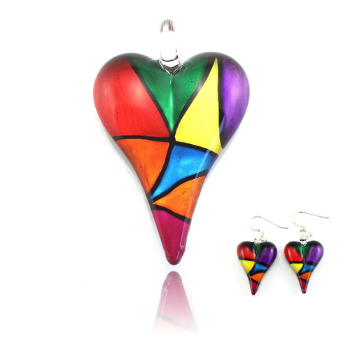 Hand Painted Glass Heart Pendant Necklace & Earring Set