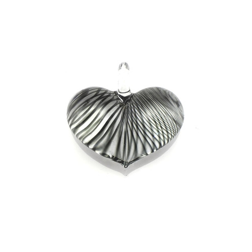 Hand Painted Black Striped Glass Heart Pendant Necklace