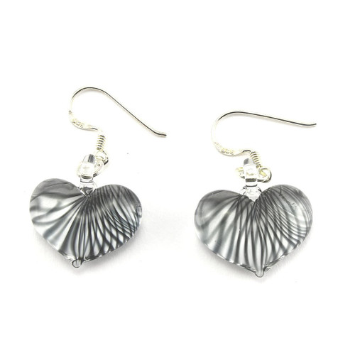 Hand Painted Black Striped Glass Heart Earring