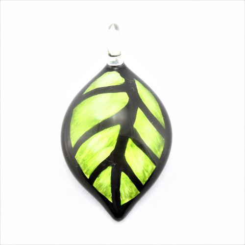 Hand Painted Green Leaf Glass Pendant Necklace