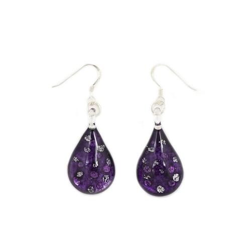 Hand Painted Purple Glass Teardrop Sparkle Earring