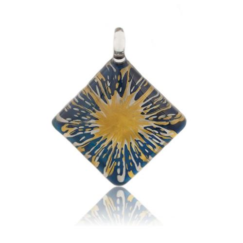 Hand Painted Blue Glass Diamond Gold Splash Pendant Necklace