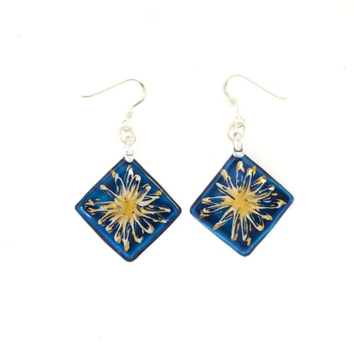 Hand Painted Blue Glass Diamond Gold Splash Earrings