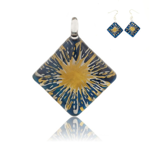 Hand Painted Blue Glass Diamond Gold Splash Pendant Necklace & Earring Set