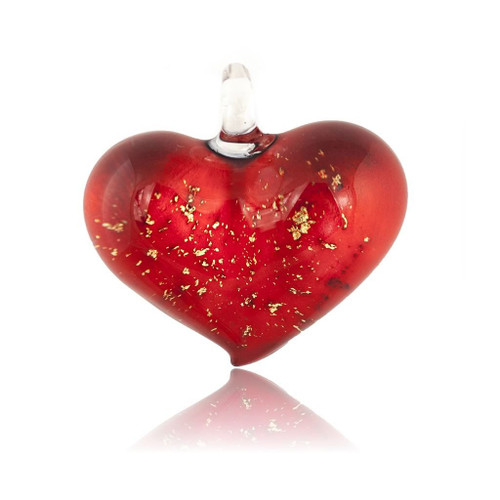 Hand Painted Red Glass Heart Gold Fleck Pendant Necklace