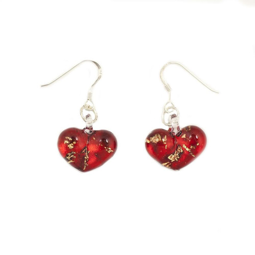 Hand Painted Red Glass Heart Gold Fleck Earrings