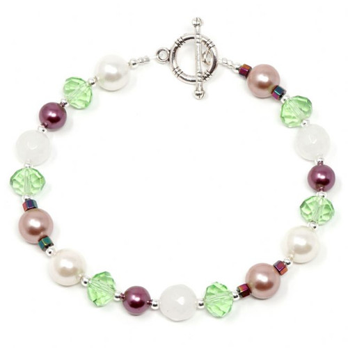 Orchid Handmade South Sea Shell Pearl Beads & Gemstone Bracelet