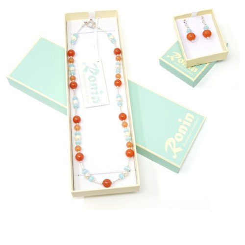 Emma Handmade Mixed Colour Gemstone Necklace & Earring Set
