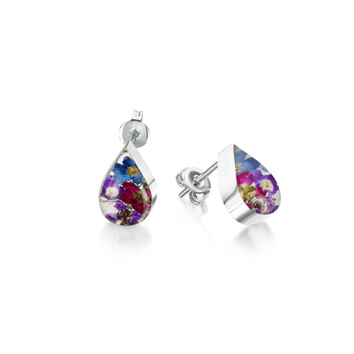 925 Silver Stud Earrings - Purple Haze Real Flower - Teardrop