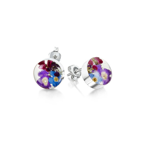 925 Silver Stud Earrings - Purple Haze Real Flower - Round