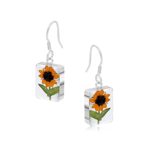 925 Silver Earrings - Sunflower - Rectangle