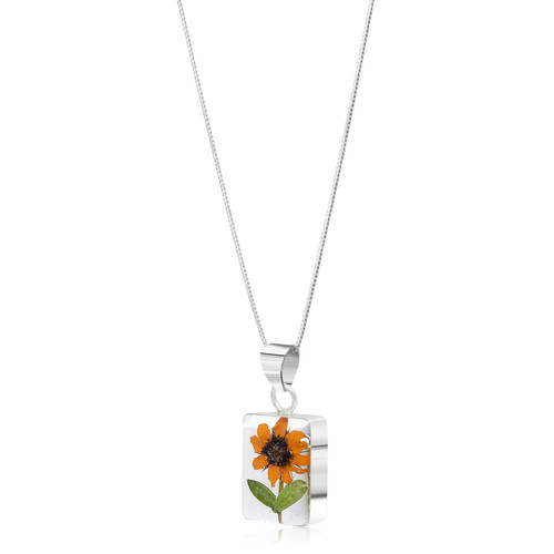 925 Silver Pendant - Sunflower - Rectangle