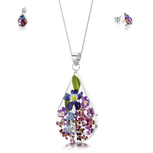 925 Silver Pendant & Stud Earring Set - Real Flower - Large Teardrop