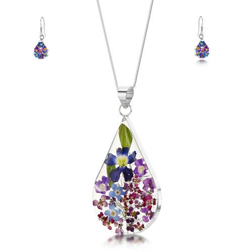 925 Silver Pendant & Drop Earring Set - Real Flower - Large Teardrop