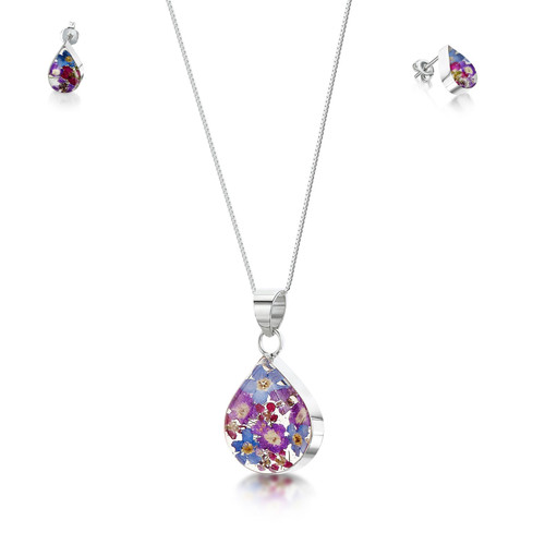 925 Silver Pendant & Stud Earring Set - Real Flower - Med Teardrop