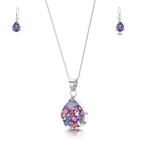 925 Silver Pendant & Drop Earring Set - Real Flower - Med Teardrop