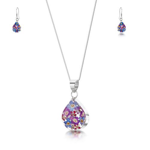 925 Silver Pendant & Drop Earring Set - Real Flower - Med Teardrop