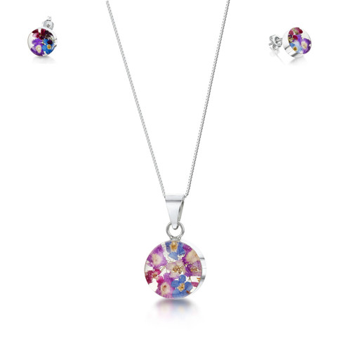 925 Silver Pendant & Earring Set - Purple Haze Real Flower - Round