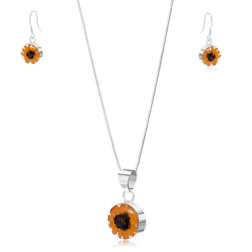 925 Silver Pendant & Earrings Set - Sunflower - Round Drop