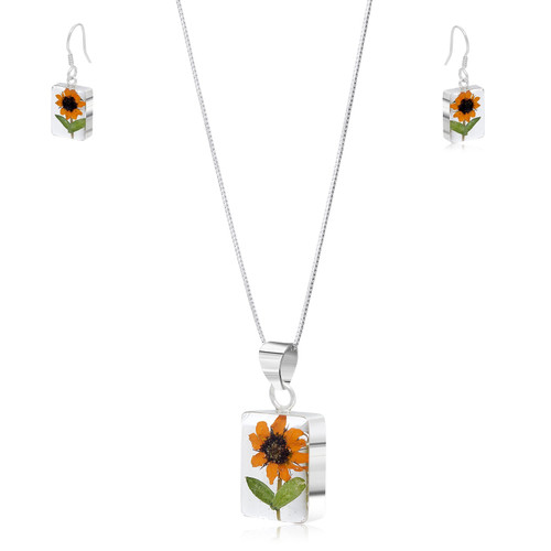 925 Silver Pendant & Earrings Set - Sunflower - Rectangle