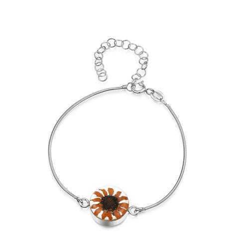 925 Silver snake bracelet - Round link - Sunflower