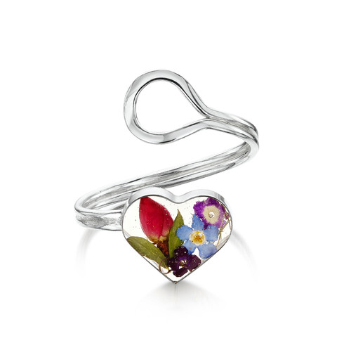 925 Silver Adjustable Heart Ring - Mixed Real Flower