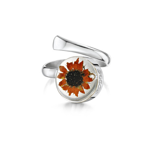 925 Silver Adjustable Round Ring - Sunflower
