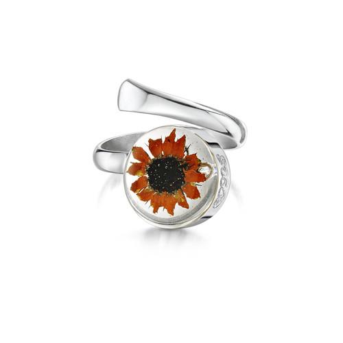 925 Silver Adjustable Round Ring - Sunflower