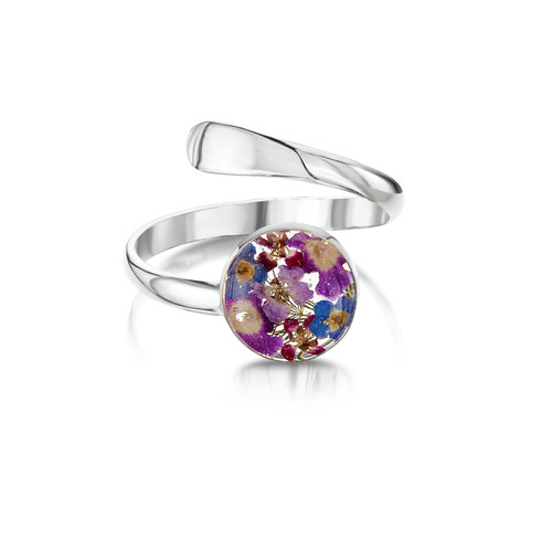 925 Silver Adjustable Round Purple Haze Ring - Real Flower