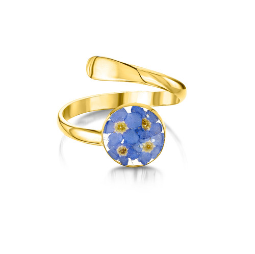 23K Gold Plated Sterling Silver Adjustable Round Ring - Real Flower