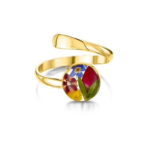23K Gold Plated Sterling Silver Adjustable Round Ring - Mixed Real Flower