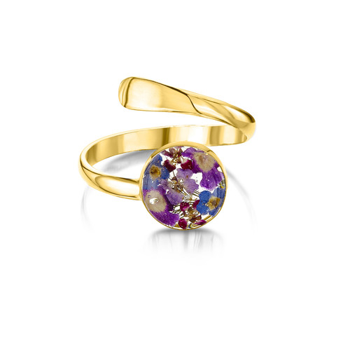 23K Gold Plated Sterling Silver Adjustable Purple Haze Ring - Real Flower